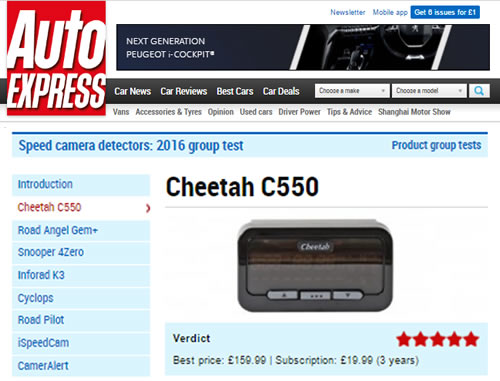 Cheetah C550 is Auto Express' Best Buy 2016